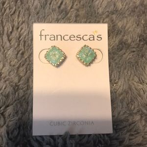 Francesca's Mint Sparkle Studs NEW